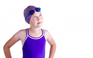 Hopeful young competitive swimmer